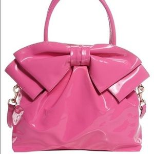 Lacca Bow Dome   Hot Pink Patent Leather Tote